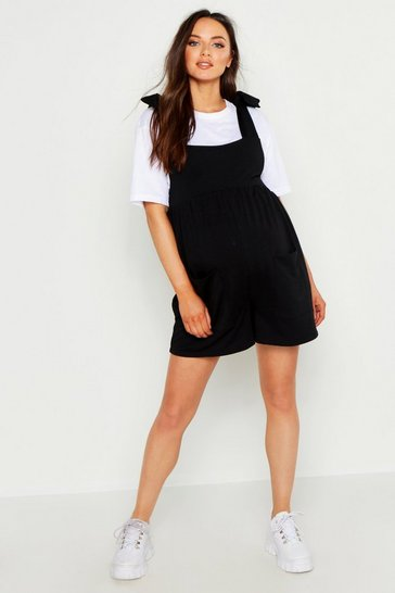 Womens Black Maternity Tie Shoulder Pocket Romper