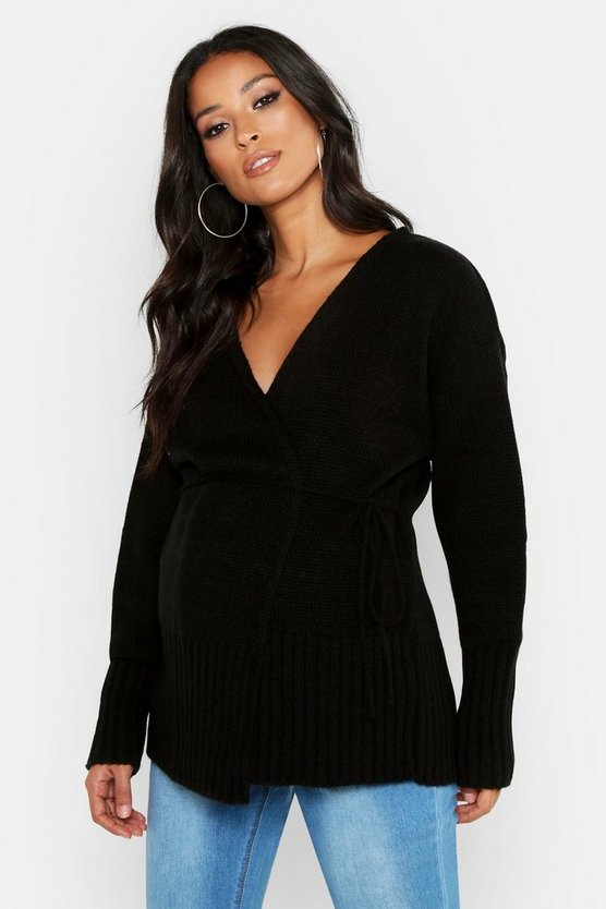 Womens Black Maternity Wrap Front Cardigan