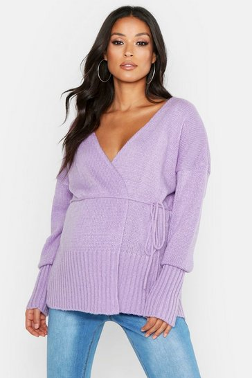 Womens Lilac Maternity Wrap Front Cardigan