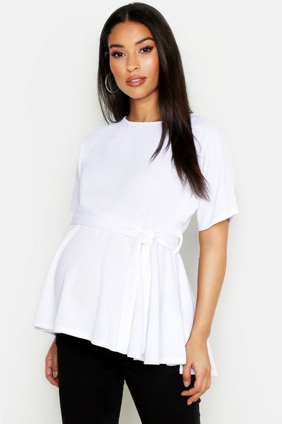 Womens White Maternity Batwing Tie Waist Peplum Top