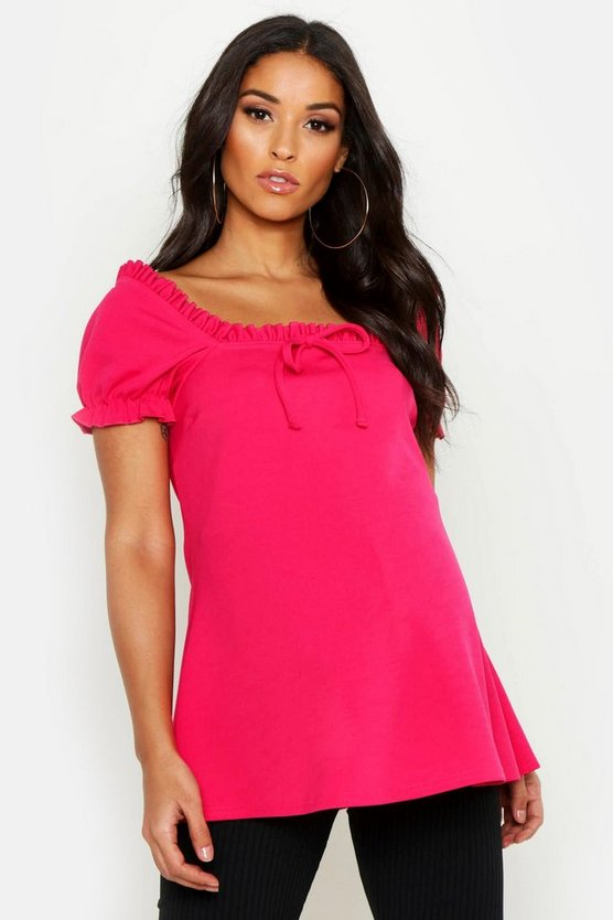 Womens Pink Maternity Off The Shoulder Ruffle Top
