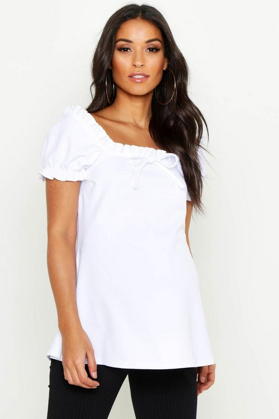 Womens White Maternity Off The Shoulder Ruffle Top
