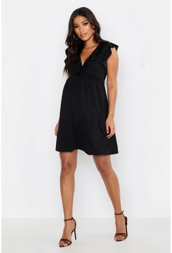 Womens Black Maternity Ruffle V Neck Smock Dress