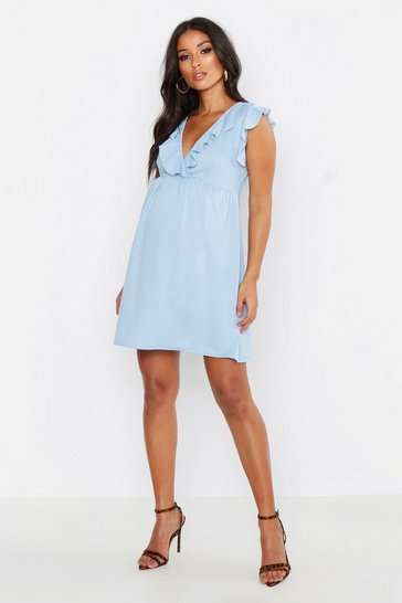 Womens Cornflower blue Maternity Ruffle V Neck Smock Dress