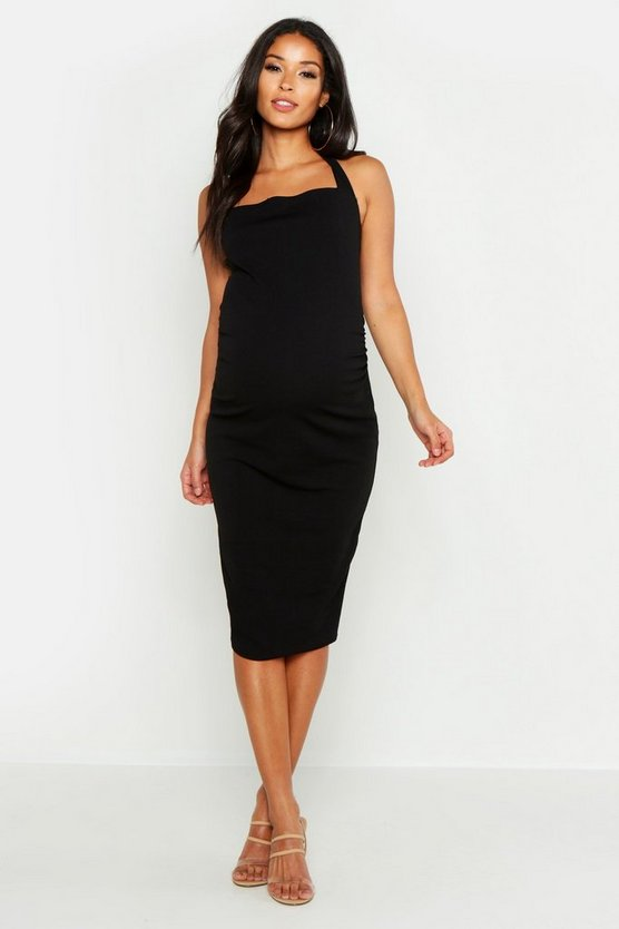 Womens Black Maternity Halterneck Midi Dress
