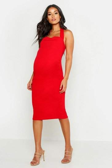 Red Maternity Halterneck Midi Dress