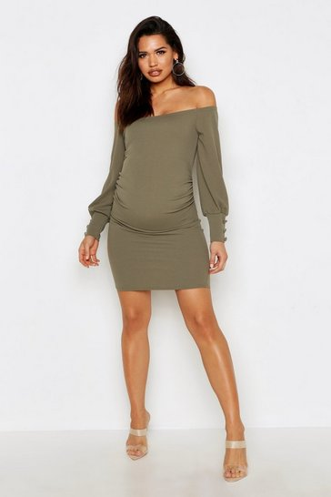 Womens Sage Maternity Off The Shoulder Puff Sleeve Midi Dress