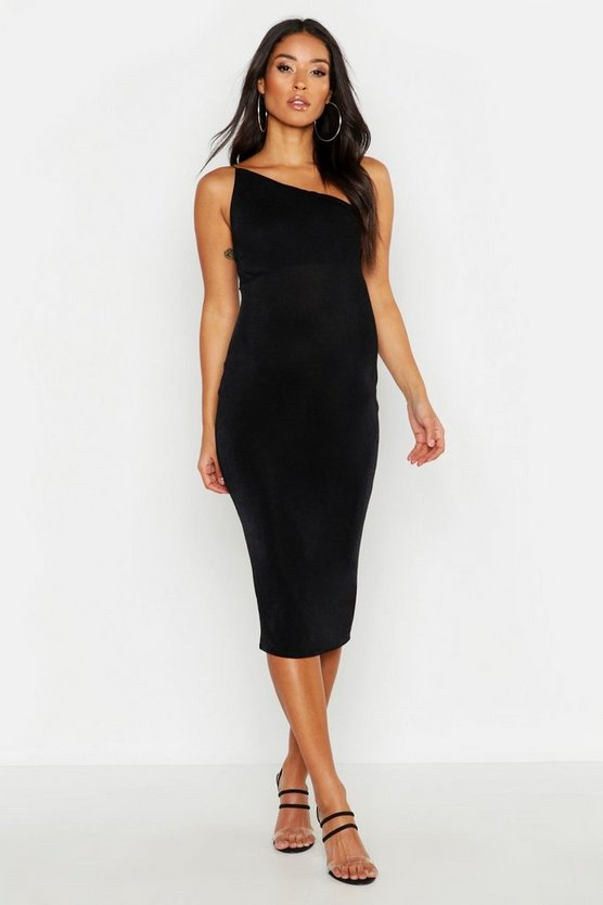Womens Black Maternity Slinky One Shoulder Midi Dress