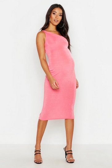 Womens Coral Maternity Slinky One Shoulder Midi Dress