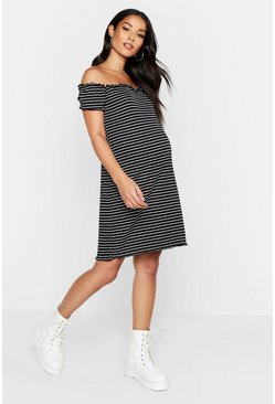 Womens Black Maternity Lettuce Hem Stripe Rib Bodycon Dress