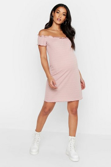 Womens Dusky pink Maternity Lettuce Hem Stripe Rib Bodycon Dress