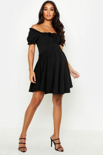 Womens Maternity Off The Shoulder Ruffle Skater Dress