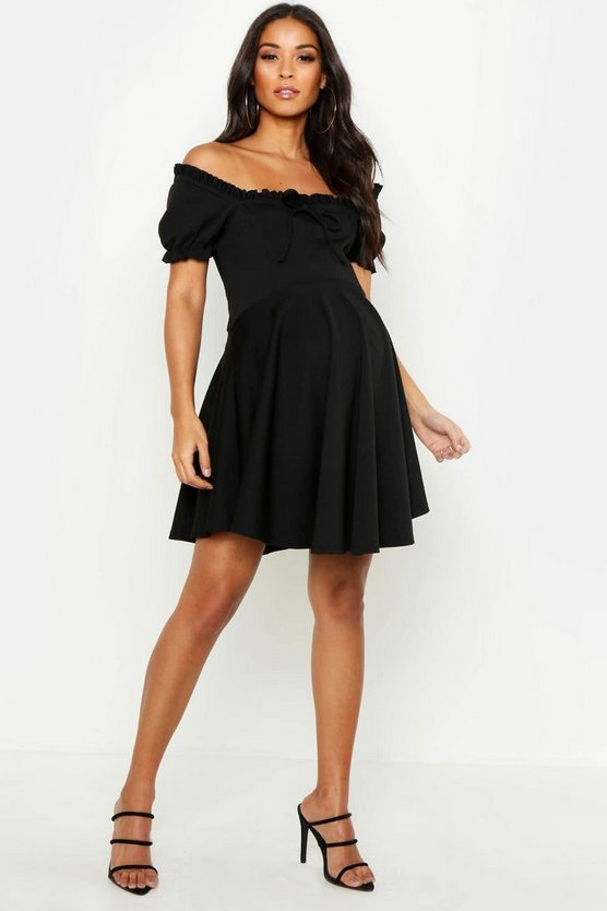 Womens Black Maternity Off The Shoulder Ruffle Skater Dress