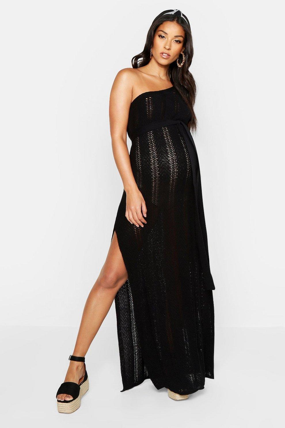 6d0fc9e98d63 Maternity One Shoulder Knitted Beach Dress | Boohoo