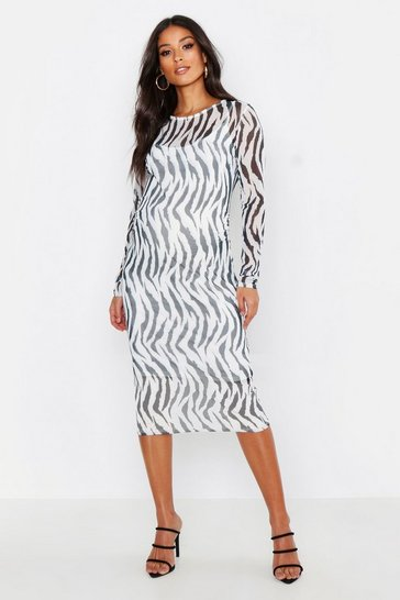 Womens White Maternity Zebra Mesh Bodycon Dress