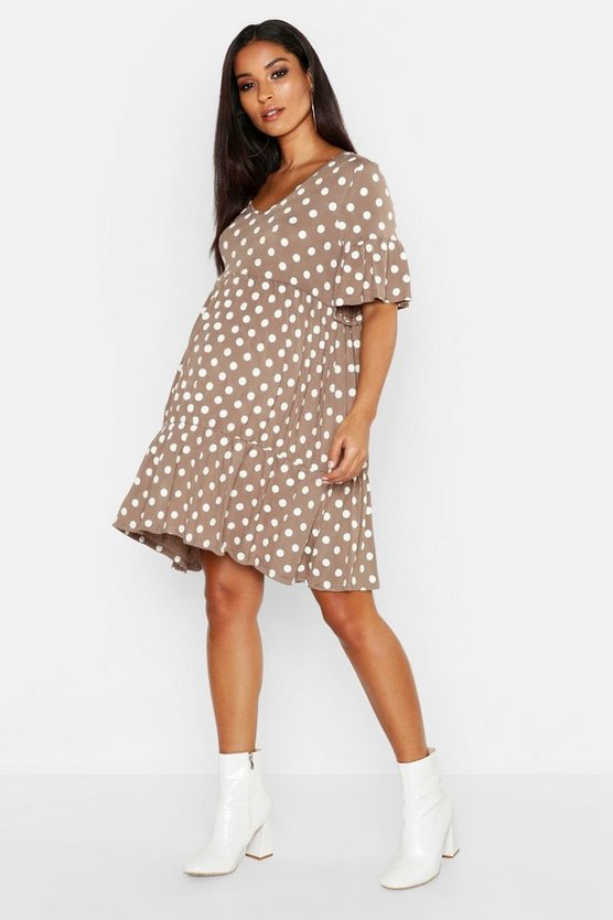 Womens Mocha Maternity V Neck Polka Dot Smock Dress