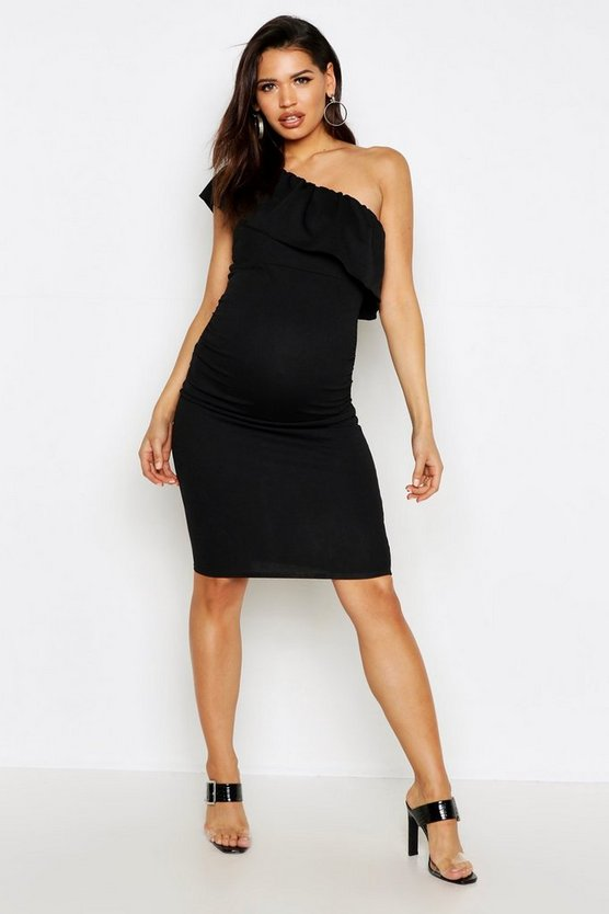 Womens Black Maternity One Shoulder Ruffle Midi Dress