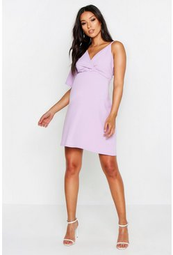 Womens Lilac Maternity Asymetric Wrap Dress