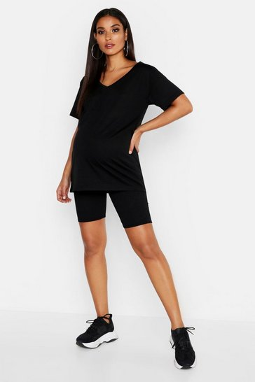 Womens Black Maternity Rib Cycling Short