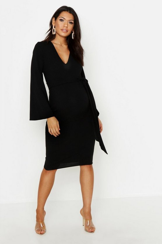Black Maternity Wrap Tie Front Rib Dress