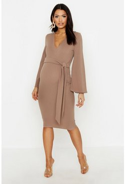 Womens Mocha Maternity Wrap Tie Front Rib Dress