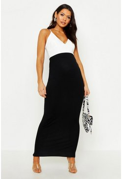 Womens Black Maternity Over The Bump Maxi Skirt