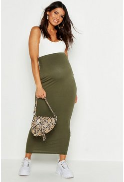 Khaki Maternity Over The Bump Maxi Skirt