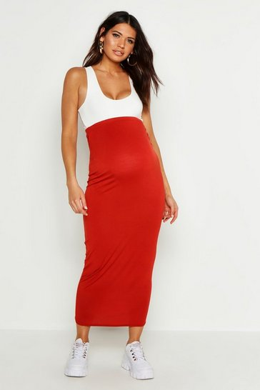 Womens Rust Maternity Over The Bump Maxi Skirt
