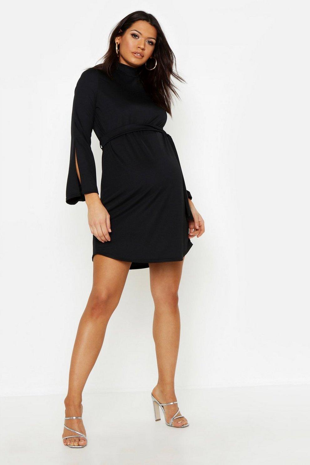 Maternity High Sleeve Split Neck Dress NmOy8nw0Pv