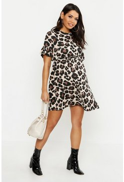 Brown Maternity Leopard Smock Dress