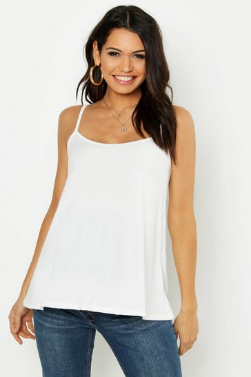 Womens Ivory Maternity Rib Swing Cami Top