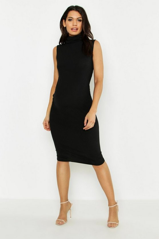 Black Maternity Sleeveless Rib Roll Neck Rib Dress