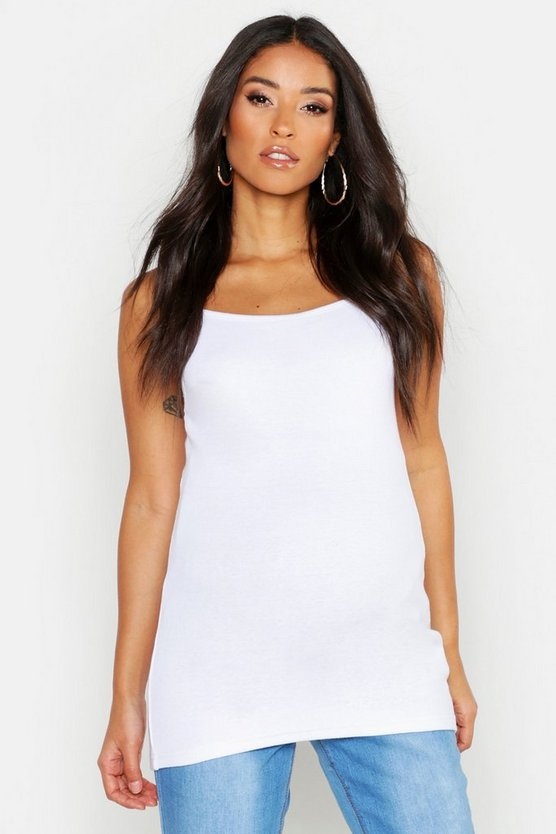 Womens White Maternity Ribbed Cami Vest Top