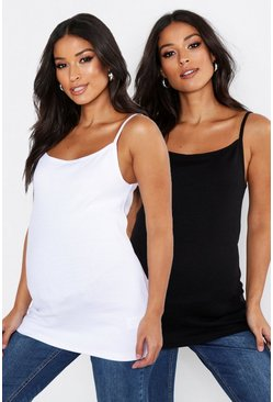 Womens Multi Maternity 2 Pack Cami Vest Top
