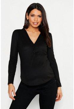 Maternity Long Sleeve Button Up Top, Black, Donna