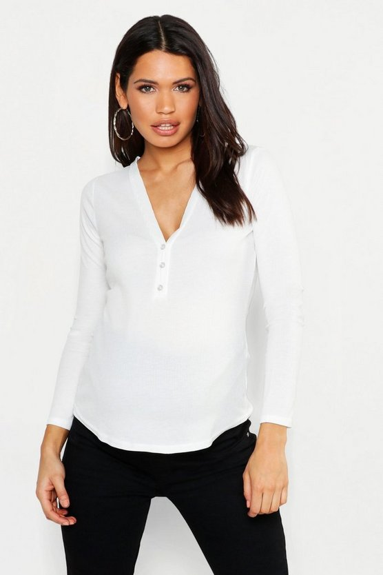 Maternity Long Sleeve Button Up Top, White, Donna