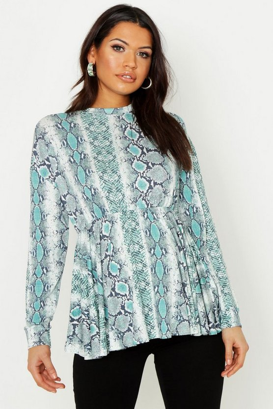 Womens Teal Maternity Snake Smock Top