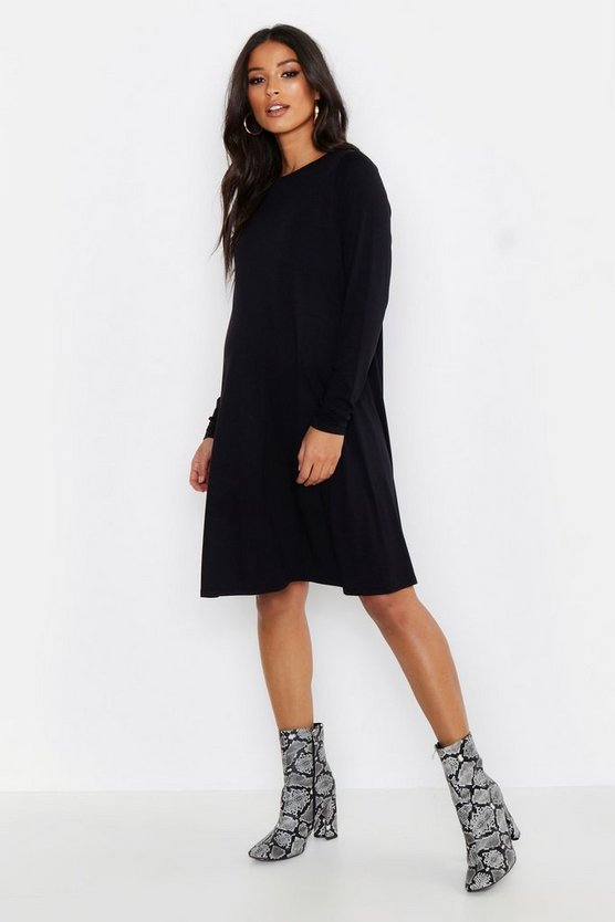 Black Maternity Long Sleeve Swing Dress