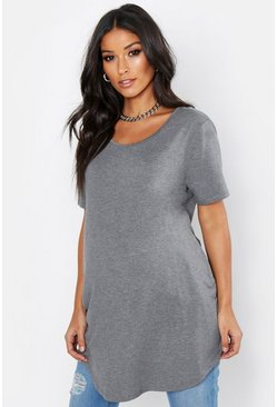 Womens Grey Maternity Oversized Basic T-Shirt