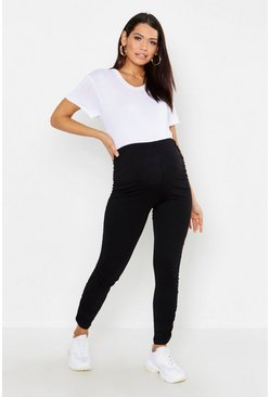 Womens Black Maternity Ruched Side Legging