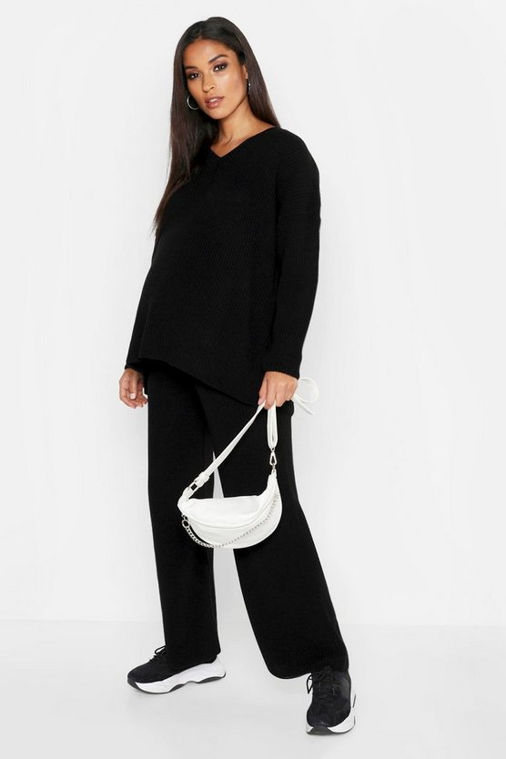 Womens Black Maternity V Neck Knit Rib Oversized Co-ord