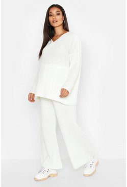 Womens Cream Maternity V Neck Knit Rib Oversized Co-ord