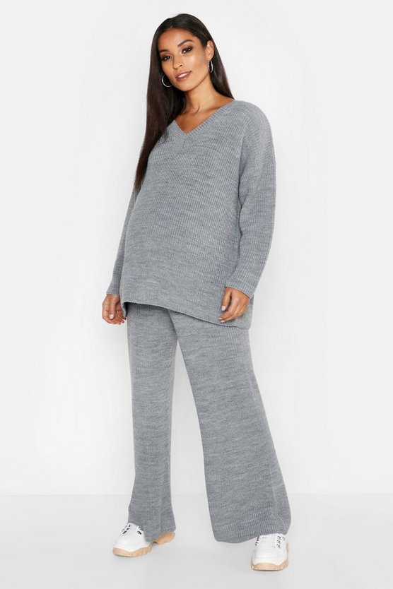 Womens Silver Maternity V Neck Knit Rib Oversized Co-ord