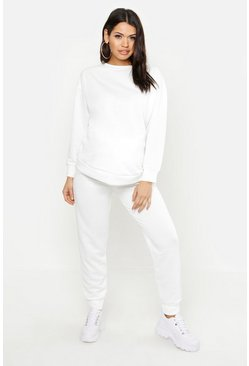 Womens White Maternity Oversized Sweat Set