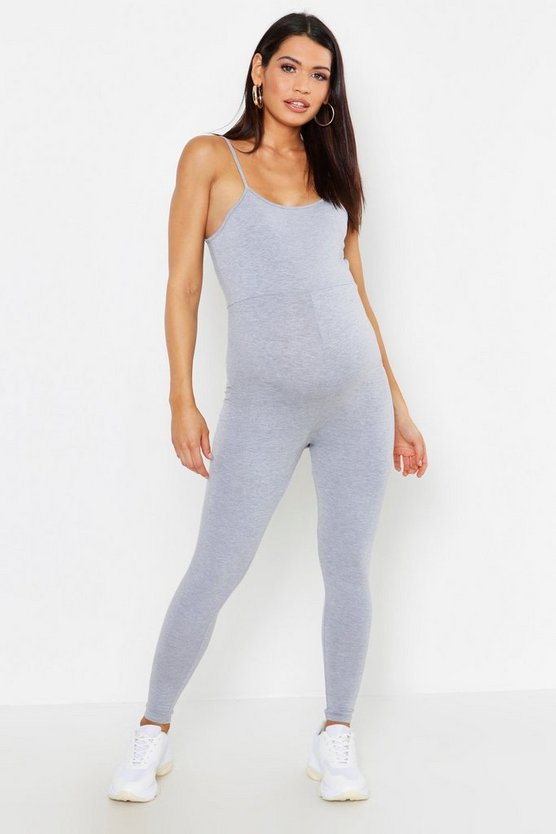 Womens Grey Maternity Strappy Lounge Romper