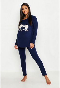 Womens Navy Maternity Mummy and Me PJ Set