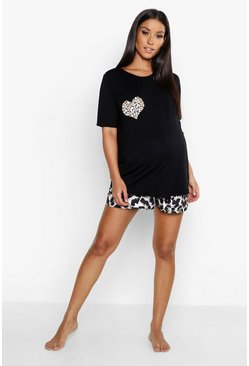 Womens Black Maternity Leopard Heart Short PJ Set