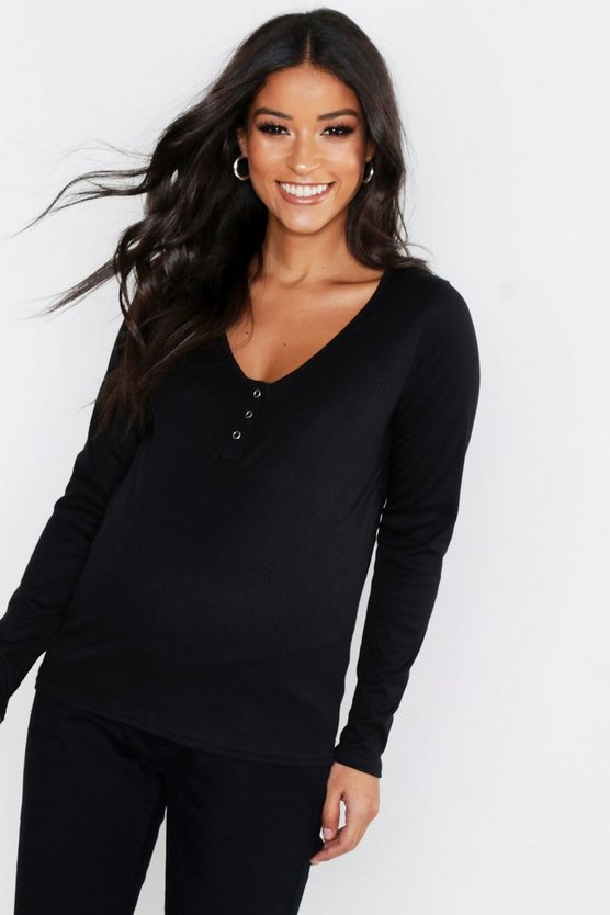Womens Black Maternity Popper Front Rib T-Shirt