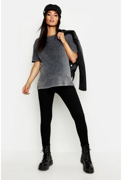 Womens Black Maternity Acid Wash Oversized T-Shirt