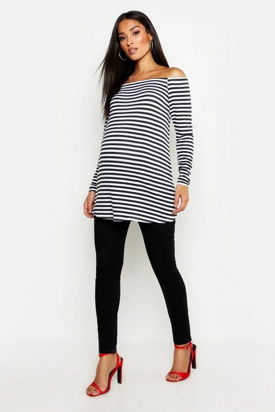Womens Black Maternity Badot Stripe Long Sleeve Top